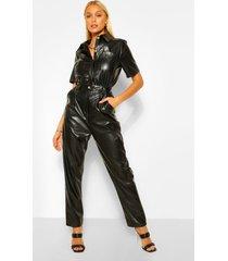 boiler jumpsuit van pu-imitatieleer, zwart