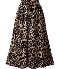 gonna lunga in vita elastica in velluto leopardato elegante