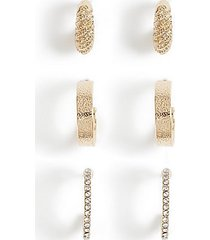 *3 pack crystal hoop earrings - clear