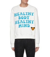 slogan graphic patch cotton sweatshirt