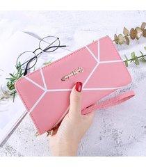 gran capacidad cartera para mujer/ monedero hembra-rosa