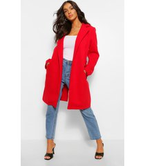 belted wool look coat, red