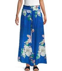johnny was women's arlow floral silk pants - blue multicolor - size xl