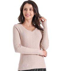 sweater básico acanalado beige nicopoly