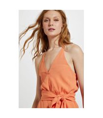 blusa de crepe alcinha lenço amarração laranja califórnia - 44