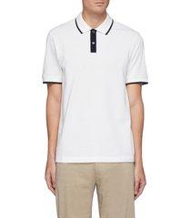 contrast stripe pima pique polo shirt