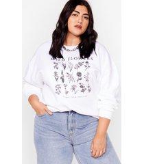 womens plus wild flower sweatshirt - white
