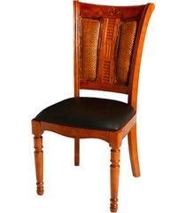 cadeira le mans de madeira sem braço e assento de couro