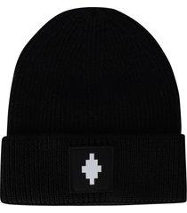 marcelo burlon cross patch beanie hat