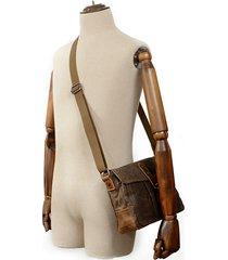 vintage canvas vera pelle impermeabile borsa tracolla borsa messenger borsa crossbody per uomo