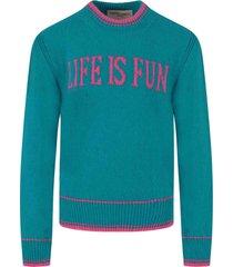 alberta ferretti light blue sweater for girl with writing