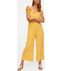 mango women's frilled long jumpsuit