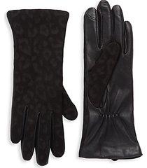 tonal leopard-print cashmere gloves