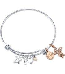 "unwritten ""bff"" cubic zirconia butterfly adjustable bangle bracelet in stainless steel"