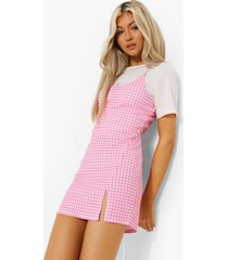 tall 2-in-1 gingham onderjurk, pink