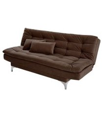 sofá-cama 3 lugares casal pratic suede liso marrom