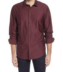 men's bugatchi herringbone stretch knit button-up shirt, size xxx-large - burgundy