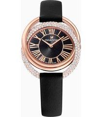 orologio duo, cinturino in pelle, nero, pvd oro rosa