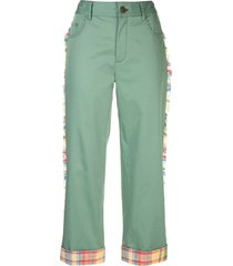 monse cropped frayed side trim trousers - green