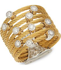 18k white gold, diamond & yellow stainless steel cable ring