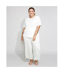 pijama feminino plus size manga curta off white