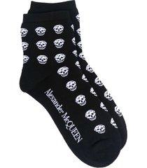 alexander mcqueen woman black multiskull socks