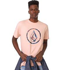 camiseta volcom circle parrilo rosa - rosa - masculino - dafiti