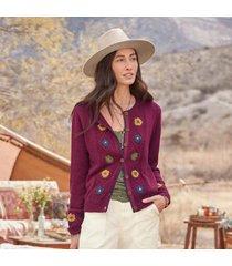 sundance catalog women's frances floral cardigan - petites in wineberry petite 2xs