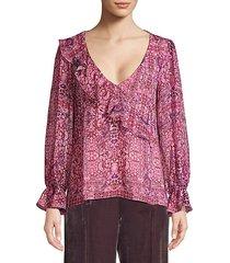 tile work silk blouse