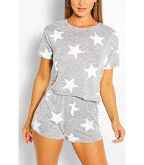 sterrenprint pyjama set met shorts, grey marl