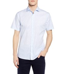 brax kelly hi-flex modern fit floral short sleeve button-up shirt, size xx-large in blue at nordstrom