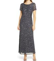 pisarro nights short sleeve beaded evening dress, size 14 in slate at nordstrom