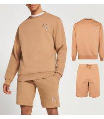 river island mens beige ri4 slim fit sweatshirt & shorts set