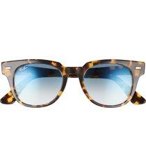 ray-ban meteor 50mm gradient wayfarer sunglasses in yellow havana/clear blue at nordstrom