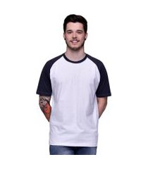 camiseta raglan básica branca com manga preta 100% algodáo