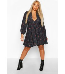 plus floral plunge blouson sleeve skater dress, black