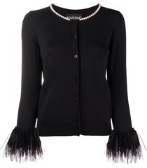 boutique moschino embellished fitted cardigan - black