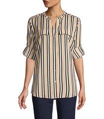 striped splitneck utility blouse