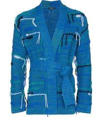 canessa belted fringed cashmere-blend cardigan - blue