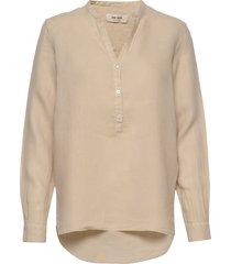 danna linen blouse blouse lange mouwen beige mos mosh