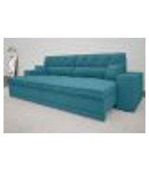 sofá duke 2,10m retrátil e reclinável velosuede turquesa - netsofas