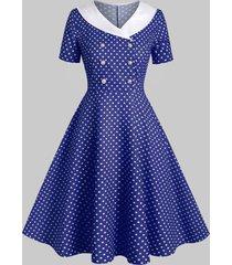 shawl collar polka dot 1950s dress