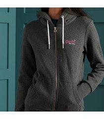 buzo hoodie abierto para mujer orange label ziphood superdry
