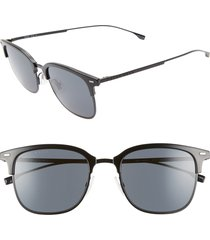 men's boss 53mm special fit semi rimless sunglasses - black