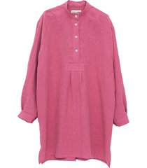 short sleep shirt rose washed linen