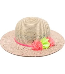 billieblush sequin-embellished straw woven hat - neutrals