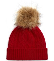 women's halogen cable cashmere pom beanie - red