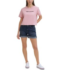 tommy jeans cotton linear logo t-shirt