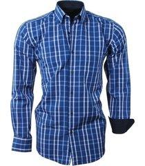 sette fratelli ongetailleerd heren overhemd geblokt - wit blauw