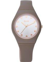 santa clara - orologio cinturino grigio in policarbonato, quadrante argento per donna